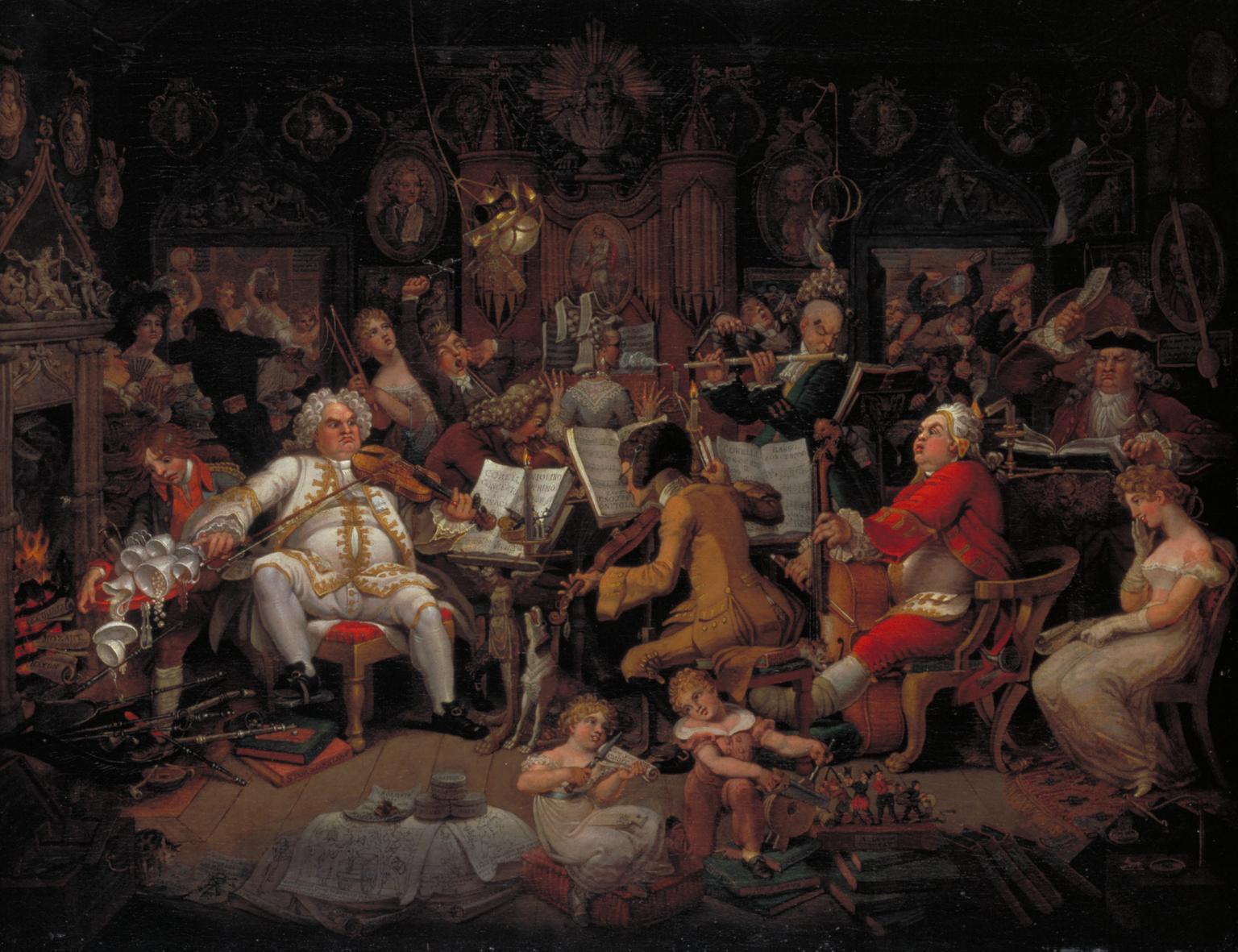 Amateurs of Tye-Wig Music ('Musicians of the Old School') c.1820 by Edward Francis Burney, Amatorzy muzyki perukowej